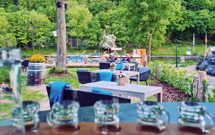 Kleiner aber feiner Biergarten auf dem camping Resort Limburg